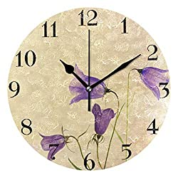 AGONA Wall Clock Chic Vintage Purple Floral Art Creative Wall Clocks Battery Operated Non Ticking Silent Wall Clock Desk Clock Decorative for Living Room Kids Room Decor Kitchen