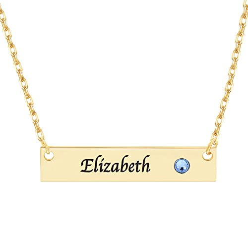 36e91451dae9d Hybedora Personalized Bar Necklace, Engraved Birthstone Custom Name  Necklace Charm Jewelry Gift for Women and Men