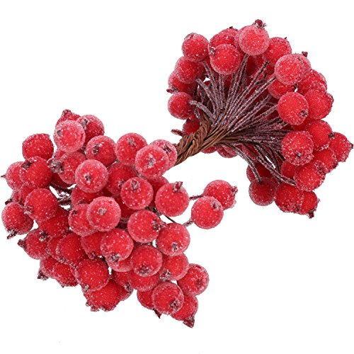 BBTO 100 Wired Stems of Artificial Holly Berries Artificial Flower Decor 200 Pack 12 mm Mini Christmas Frosted Fruit Berry (Red) (Holly And Berries)