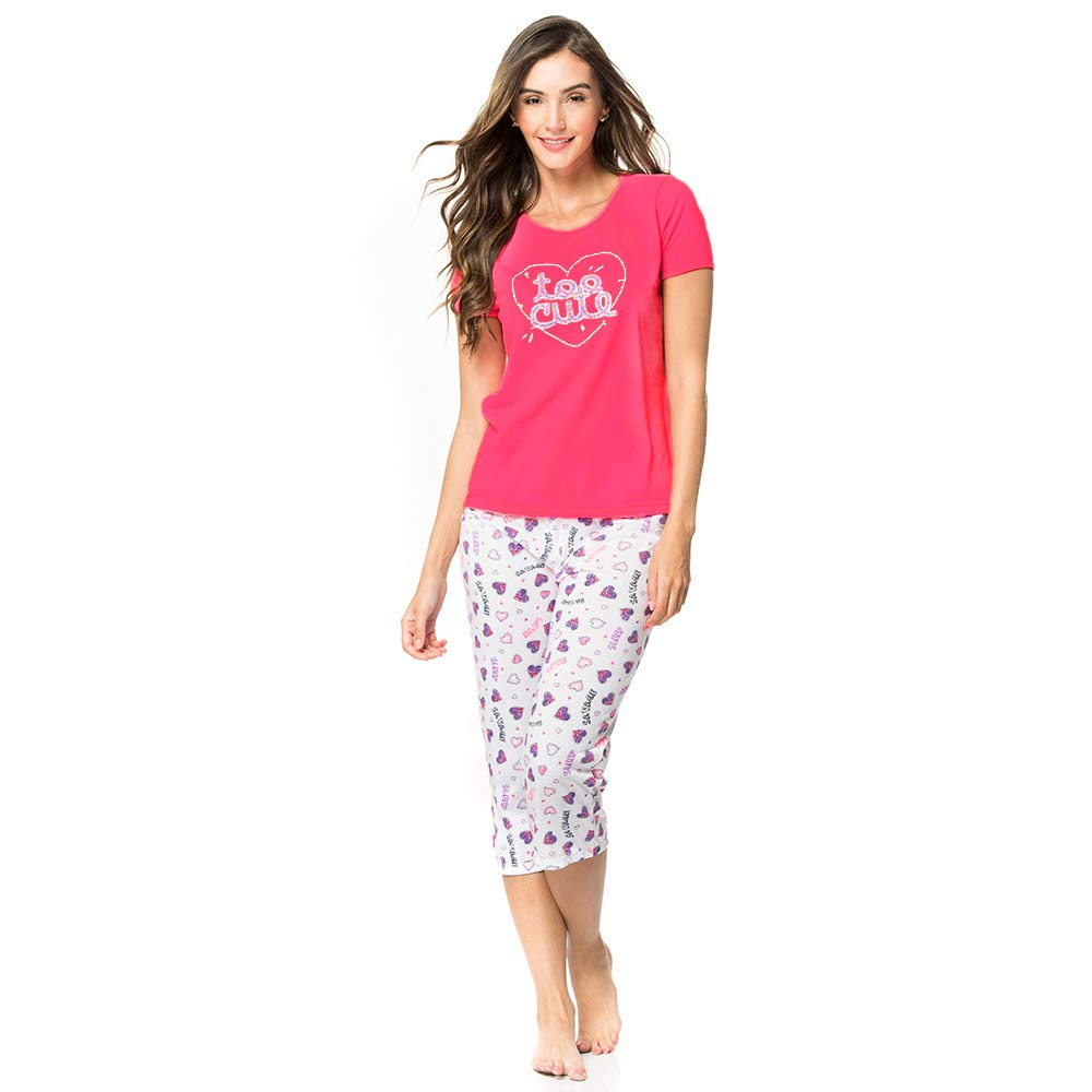 a2bba18f8682 Provocame Women Sexy Pajama Sleepwear Cami Tank Top Short Sleeve with Pants  and Capris Set at Amazon Women s Clothing store
