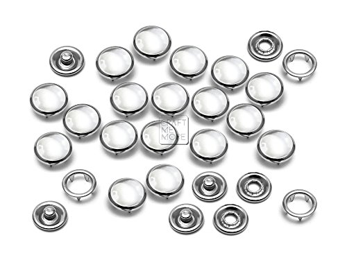 CRAFTMEmore 20 Sets 10.5MM Transparent Pearl Snaps Fasteners for Western Shirt Clothes Popper Studs -