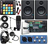 PreSonus AudioBox 96 Audio Interface Full Studio Bundle with Studio One Artist Software Pack, ATOM MIDI/Production Pad Controller, Eris E3 Pair 2-Way Monitors and 1/4