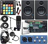 PreSonus AudioBox 96 Audio Interface Full Studio Bundle with Studio One Artist Software Pack, ATOM MIDI/Production Pad Controller, Eris E3 Pair 2-Way Monitors and 1/4