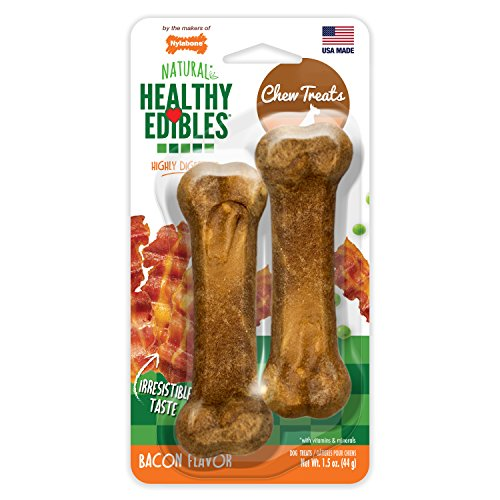 Nylabone Healthy Edibles Petite Bacon Flavored Dog Treats, Twin (Petite Bacon)