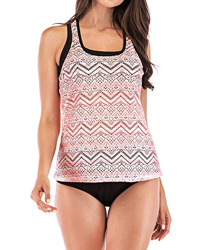 Blugibedramsh Tankini Swimsutis for Women, Printed Two Piece Bathing Suits Sporty Padded Swim Tank Top Swimwear with Bottom Pink (M)
