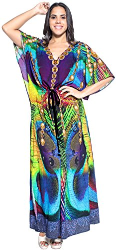 LA LEELA Likre Digital Long Caftan Beach Dress Multicolor_737 OSFM 14-22W [L-3X] by La Leela
