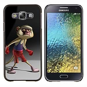 Boxeo de la historieta de la cola de personaje- Metal de aluminio y de plástico duro Caja del teléfono - Negro - Samsung Galaxy E5 / SM-E500