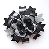 Black Silver Christmas Hair Bow, Handmade Boutique Silver Black Hair Bow, Sparkly Holiday Xmas Bow