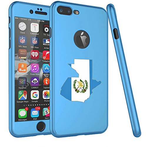 For Apple iPhone 360° Full Body Thin Slim Hard Case Cover + Tempered Glass Screen Protector Guatemala Guatemalan Flag (Light Blue For iPhone 7 Plus) (Guatemala Cover)