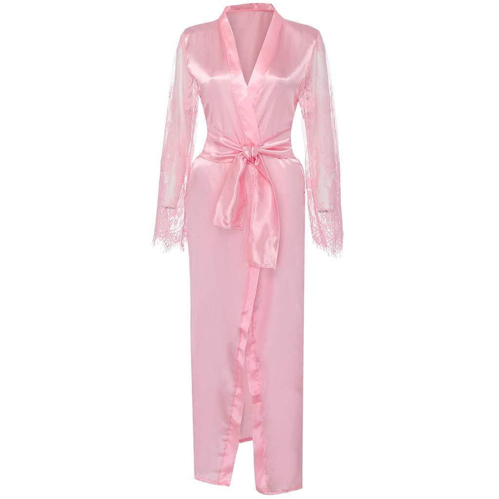 Pervobs Women Satin Pure Colour Long Sleeve Belt Long Nightdress Silk Lace Lingerie Nightgown Sleepwear Sexy Robe(L, Pink) by Pervobs Lingerie & Sleepwear (Image #5)