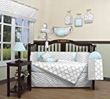 GEENNY Boutique Baby 13 Piece Crib Bedding Set, Glacier Blue/Gray Chevron