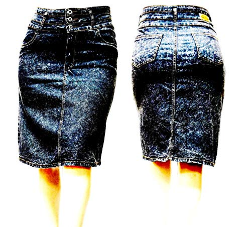 Jack David Womens Plus Size Skirt Stretch Distressed Ripped Blue Denim Jeans 1X 2X 3X (3X, BE-Girl Black Acid 75575X) (Plus Size Acid Wash Jeans)