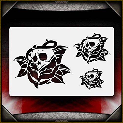 Skull Rose AirSick Airbrush Stencil Template