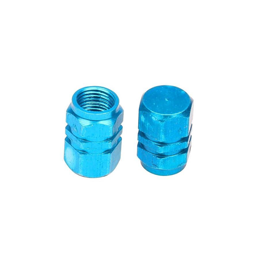 SODIAL(R) 4X Tire Wheel Rims Stem Air Valve Caps Tyre Cover Car Truck Bike Blue Aluminum