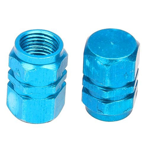 SODIAL(R) 4X Tire Wheel Rims Stem Air Valve Caps Tyre Cover Car Truck Bike Blue Aluminum