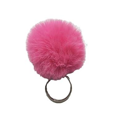 AGGIEYOU 2 unids Fluffy Fur Ball Llavero Faux Rabbit Fur ...