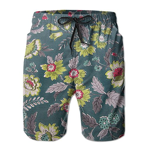 Tydo Floral Painting Men's Beach Shorts Quick Dry Swim Trunks Surf Board Pants With Pockets For Men M