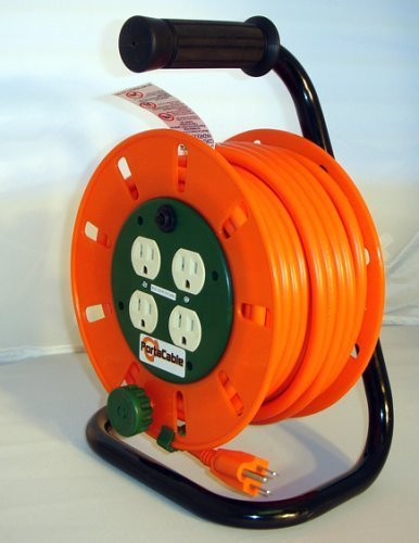 50-Foot Extension Cord Reel with 4ac Sockets + Circuit Br...