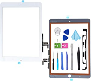 T Phael White Digitizer Repair Kit for 2017 iPad 9.7(A1822, A1823)/ iPad 5 iPad Air 1st Touch Screen Digitizer Replacement (Without Home Button) with Tools + PreInstalled Adhesive