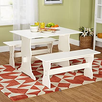 Country Style Antique White Kitchen Table Set