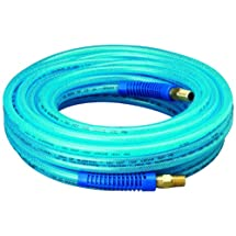 """Amflo 12-50E Blue 300 PSI Polyurethane Air Hose 1/4"""" x 50' With 1/4"""" MNPT Swivel Ends And Bend Restrictor Fittings"""