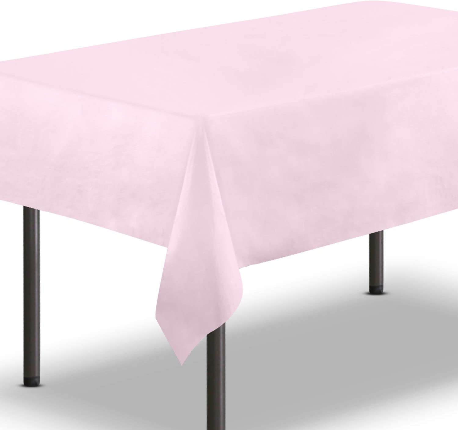 FMP Brands [10 Pack] Pink Plastic Tablecloth 54 x 108 Inch - Rectangle Table Cloth Reusable Cover/Disposable Tablecloths, Party Decoration Birthday Supplies Outdoor Picnic Camping Baby Shower Wedding