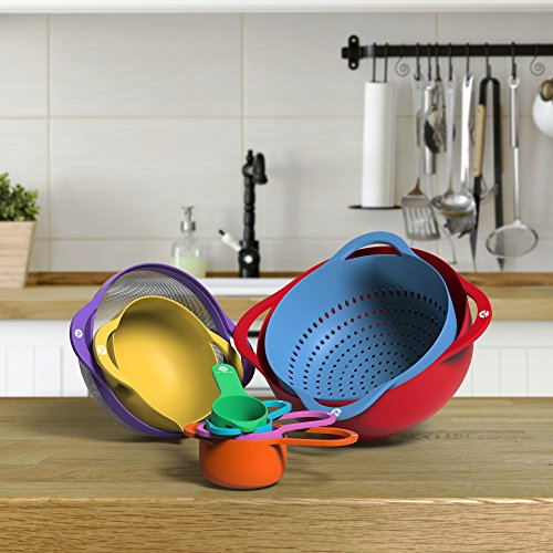 Vremi 13 Piece Mixing Bowl Set - Colorful Kitchen Bowls Colander Mesh Strainer with Handles Measuring Cups and Spoons - BPA Free Plastic Nesting Bowls with Easy Pour Spout for Baking Cooking and More