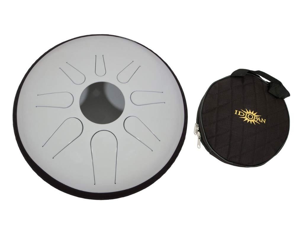 Idiopan Domina Steel Drum Package Includes: 12-inch Tunable Steel Tongue Drum - Glow-in-the-dark White + Idiopan 12'' Standard Gig Bag