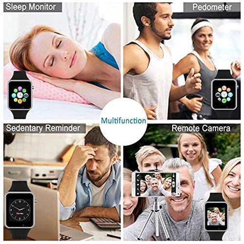 Reloj inteligente con pantalla táctil y Bluetooth, reloj de pulsera inteligente, rastreador de actividad física, con ranura para tarjeta SIM, cámara con podómetro, compatible con iOS iPhone Android Samsung para hombres y mujeres con tarjeta