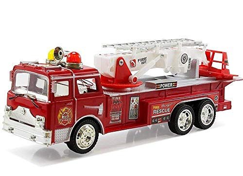 Fire Truck - Fire Engine Rescue Toy Truck - Extending Ladder That Can Turn 360 Degrees, Lights & Siren Sounds, Bump & Go Action Battery Operated Electric Vehicle, Great Birthday Gift for Boys & Girls