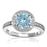 1.35 Carat t.w 14K White Gold Halo Style Vintage Diamond Engagement Ring With Milgrain w/ a 1 Carat Round Cut Blue Aquamarine Heirloom Quality