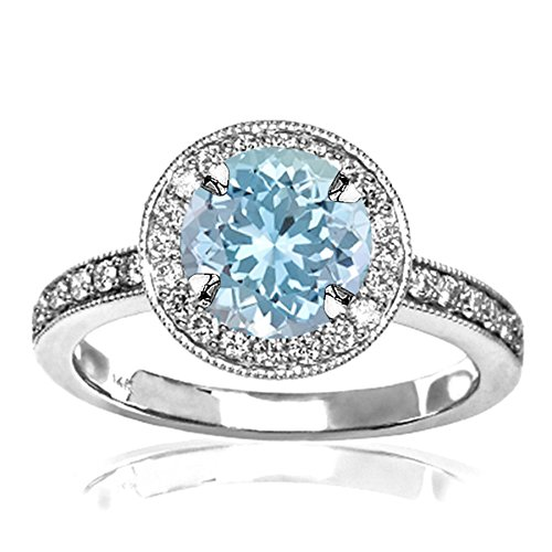 - 1.35 Carat t.w 14K White Gold Halo Style Vintage Diamond Engagement Ring With Milgrain w/ a 1 Carat Round Cut Blue Aquamarine Heirloom Quality