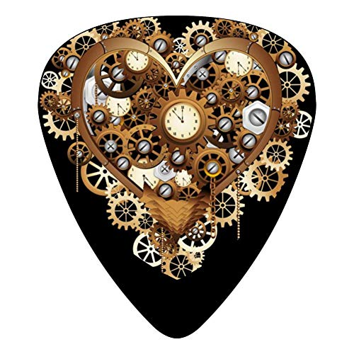 Steampunk Heart Love Vintage 351 Shape Medium Classic Celluloid Picks, 12-Pack, For Electric Guitar, Acoustic Guitar, Mandolin, And Bass