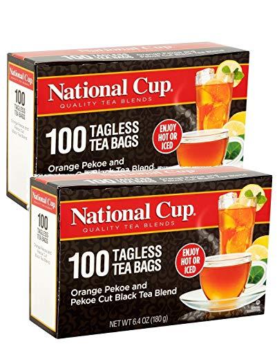 National Cup, Tagless Orange Pekoe and Pekoe Cut Black Tea Blend, Tea Bags, 100 Ct, Pack of 2