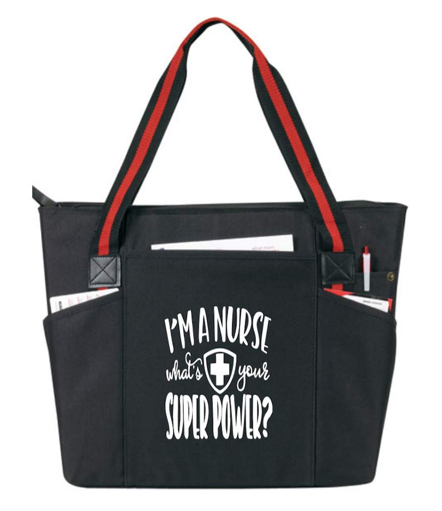 I'm a Nurse, What's Your Superpower Black - Large Nursing Tote Bags for Nurses - Perfect for Work, Gifts for CNA, RN, Nursing Students
