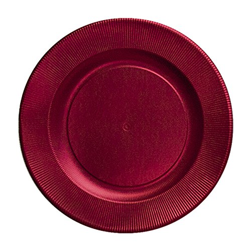 Sophistiplate Satin Red Righe Charger Paper Plates (Pack of 8) Fancy Disposable Dinnerware for Holiday Parties, Birthdays, Anniversaries and Special Entertaining Occasions -