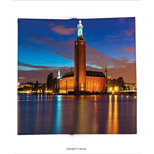 Custom printed Throw Blanket with European Stockholm Scenic Night at City Hall Old Town Enchanted Town Sweden View Blue Cinnamon Mauve Super soft and Cozy Fleece (Halloween Town City Hall)