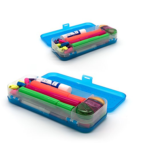 Emraw Double Deck Organizer Box - Bright Color School Pencils Box Stationery Box Pen Holder Box Organizer, School Supplies Pencil Box for Students Pencil Case Pencil Box (6-Pack) by Emraw (Image #2)