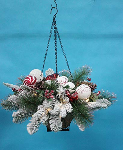 TenWaterloo Christmas Wonderful Winter Collection Snow Flocked Lighted Hanging Basket, 25 Inches x 12 Inches, with Ornaments and Battery Operated Timer, Metal Basket (Baskets Hanging Lighted)