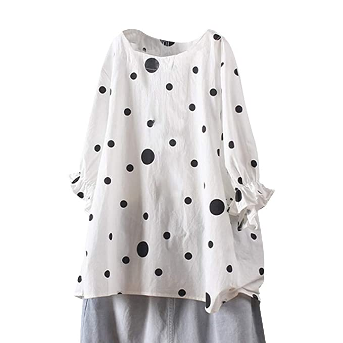 OURS Womens Casual Long Sleeve Tops Shirts Polka Dots Elow Patch Tunics Blouses