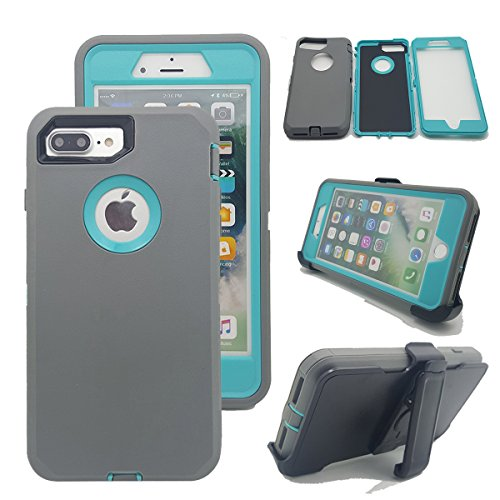 iPhone 8 Plus Case, Kecko Heavy Duty Tough Shockproof High Impact Hybrid Military Grade Armor Case Cover with Belt Clip and Build in Screen Protector for Apple iPhone 8 Plus / 7 Plus (Gray Light Blue)