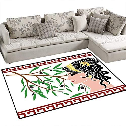 - Toga Party Floor Mat for Kids Mythological Aphrodite Profile and Olive Branch Greek Borders Framework Print Bath Mat Non Slip 55