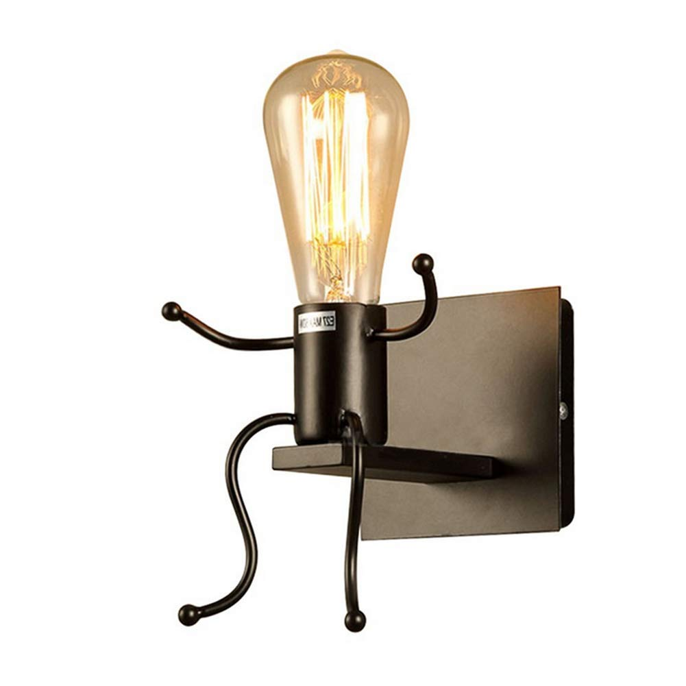 YQ Vintage Wandleuchte Industrielle Retro Moderne Kreative Art Deco Eisen E27 Basis Für Schlafzimmer Nachttisch, Kinderzimmer, Flur, Restaurant, Treppe (Birne Nicht Im Lieferumfang Enthalten),Black