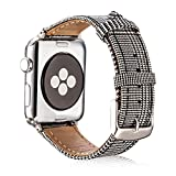 Sangaimei Watch Band 42mm Strap Replacement Band with Stainless Metal Clasp Compatible Apple Watch Series 3/2/ 1, Samsung Gear S3 Classic/Frontier, Sport and Business-Imported Italy Suit Cloth.