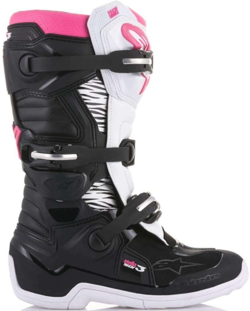 Size 6 Alpinestars Tech 3 Stella Womens Motocross Off-Road Motorcycle Boots 2018 Version Black//White//Pink