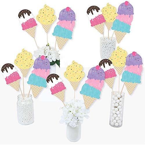 Big Dot of Happiness Scoop Up the Fun - Ice Cream - Sprinkles Party Centerpiece Sticks - Table Toppers - Set of 15 -