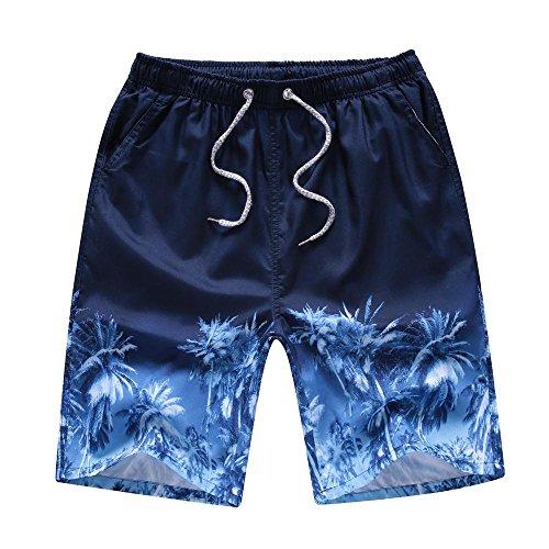 Kosbon Men and Boys Swim Trunks Quick dry Surf Beach Shorts Casual Sport Boardshorts. (XXL(Waist:33-34 inch), Blue tree)