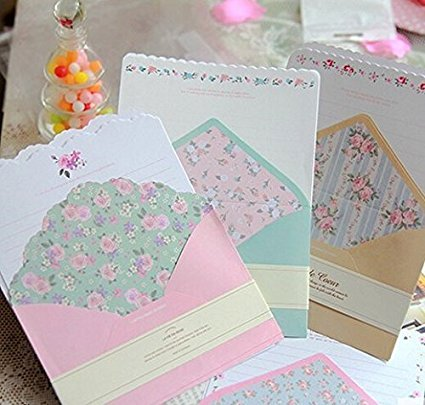 SCStyle 32 Cute Kawaii Lovely Special Design Writing Stationery Paper with 16 Envelope + 16 Label Seal Sticker (7.1x5.2 inch) by SCStyle