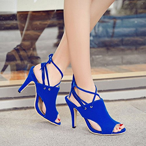 Coolcept Femmes Lacets Sandales Peep Toe Blue QiwGBU