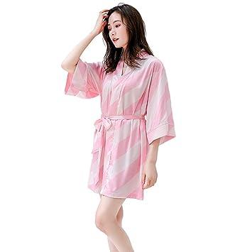 V1 Clothing CO Pijamas, Bata de Manga Corta a Rayas de Seda de Primavera y